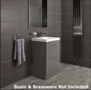Alpine Duo 50cm Bathroom Grey High Gloss Floor Standing Vanity Unit Cupboard NEW