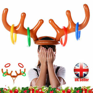 Inflatable Reindeer Christmas Gifts Hat Antler Hat Hair Band Ring Toss Game Toys