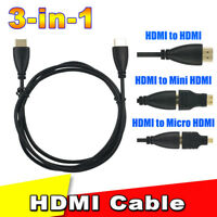 HOT! 3in1 HDMI to HDMI Male to Male Video Cable High Speed Gold Plated Plug Cord