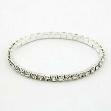 Silver Bracelet Rhinestone Crystals Single Row Ladies Womens Stretch Gift NEW