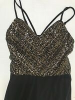 City Triangles Jumpsuit Romper Gold Sequin Strappy Black NEW 7 Juniors