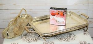 Vintage Silver Service Chased Silver Plated Tray, Serving Dish + Set 6 Coasters