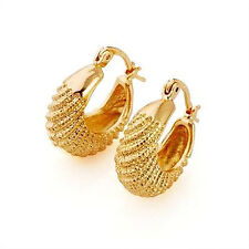 "Vogue ""caterpillar"" 9k real solid yellow gold filled hoop earrings,F2895"