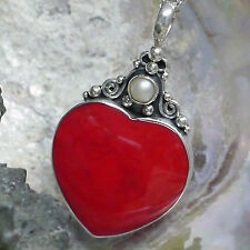 Liebe & Herzen echten Anhänger mit Perlen
