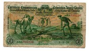 Royal Bank of Ireland One Pound / £1 Ploughman 2nd May 1939 1st Issue 3rd Series