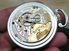 Enamel Dial Salesman Case Pocket Watch New listing Running 18s Western Special Engaved Train