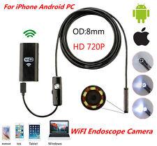5M 6LED HD 720P WiFi Borescope Inspection Snake Tube Camera Endoscope Waterproof