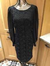 ADRIANNA PAPELL BLACK HEAVY LACE DRESS SIZE 10 New With Tags