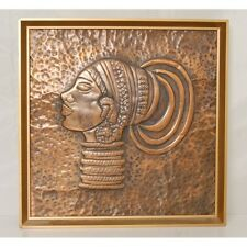 African Art Framed Hammered Copper Sheet of a Female Profile