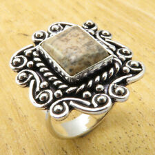 FRIEND'S Ring Size 7 Exclusive Picture Jasper TRIBAL Silver Plated Jewelry NEW