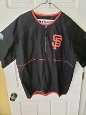 Majestic San Francisco Giants1/4 Zip Pullover Short Sleeve SZ L Black