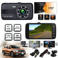 "4"" Dual Lens HD Car Camera DVR Video Dash Cam Recorder G-Sensor w/ Night Vision"