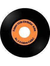 """7.5"""" +30 Cup Cake Topper Wafer Commestibile Personalizzato RECORD LP Qualsiasi Nome ed Età"""