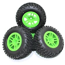 Traxxas 1/10 Slash 4X4 Spec Tires 12mm Green Wheels Set Front Rear XL5 VXL