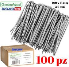 Gardenmate 100 Picchetti Ancore galvanizzati per Telo pacciamatura a U zincato