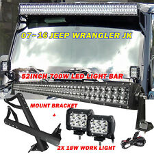 "52"" 700W +2×18W CREE Led Light Bar Mount Bracket fit for 07-16 Jeep JK Wrangler"