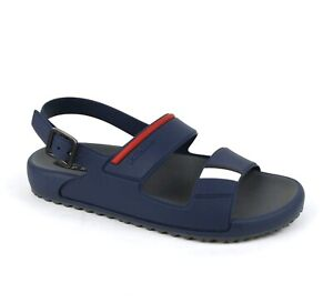 Prada Men's Blue Rubber Sandal with Heel Strap and Red Stripe UK 5/US 6 4X3206