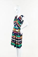 Oscar de la Renta Multicolor Striped Pleated V Neck Sleeveless Sheath Dress SZ 6