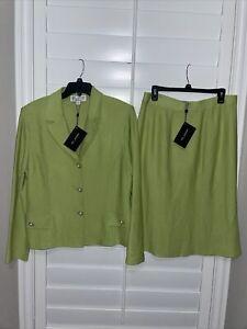 ST John 2PC Santana Knit Skirt Suit Button Jacket & Skirt Green Sz 16 & 14 NWT