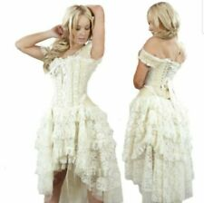 Burleska Gothic Vampire Wedding Prom Vintage Cream & Lace Corset Dress