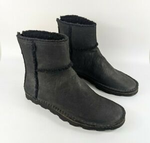 Clarks Black Leather Fleece Lined Winter Boots Uk 7 D Eu 41 Hardly worn