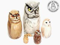 Owl Nesting Dolls 5 pcs, Matryoshka 4,2 inc (11cm)