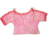 Nordstrom Women Top One Size Pink Silk Crop Off Shoulder Semi Sheer Short Sleeve