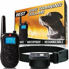 Remote Dog Shock Training Collar Rechargeable Waterproof Lcd Pet Trainer 333 Yds