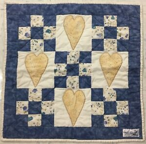 Handmade hearts and 9 patch wall decor or doll quilt-measures about 21X21 inches