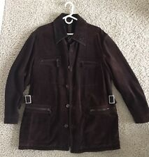 Men's Brown Suede Leather Jacket Coat Size 54 (44 US) Made in Italy $1495