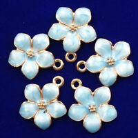14x14x2mm 12Pcs New Carved Tibetan Gold Blue Flower Pendant Bead  NN556