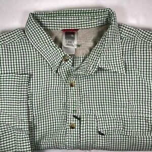 The North Face Mens XL Short Sleeve Button Up Green Checker Outdoor Active Shirt