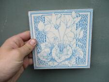 Vintage Ceramic Tile Architectural Antique Floral Flower Made in England Old