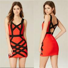 BEBE RED BLACK LARA COLOR BLOCK BANDAGE DRESS $89 NEW NWT MEDIUM M