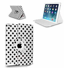 WHITE Fashion Dots Leather 360° Rotating Stand Case Cover For iPad 2/3/4 UK POST
