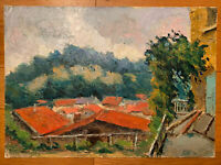 Tableau peinture paysage village maison de campagne lac foret nature arbres