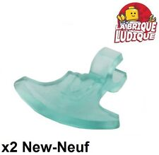 Lego - 2x minifig arme weapon hache axe head bleu trans light blue 53705 NEUF