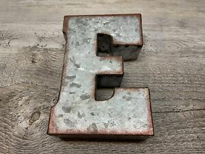 """Farmhouse Galvanized 3-D Letter """"E"""" 5X7 in Hobby Lobby"""