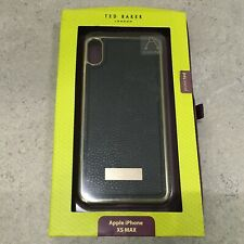 TED BAKER Apple iPhone XS MAX Case Black Faux Leather Metallic Edge Smart