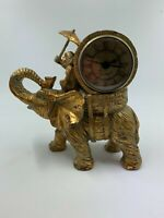 Vintage Monkey riding Elephant Clock- antique brass finish Quartz movement works