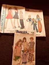 Lot Of 3 Kids Girls Patterns Butterick Simplicity McCall's 1970's Size 12