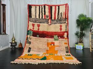 "Moroccan Vintage Boujaad Handmade Rug 5'2""x8'5"" Abstract Red Orange Berber Rug"