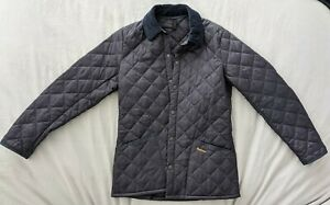 Mens Barbour Liddesdale Quilted Jacket Coat Navy Blue Size S