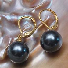 12mm Round Black southsea shell pearl 14K GP Hook dangle earrings JE215