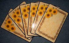 6x Platzdeckchen abwaschbar Platzset Platzdecke Tischset rechteckig Sonnenblume