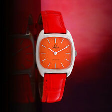 COLLECTABLE VINTAGE OMEGA DE VILLE LADIES MANUAL SS ORANGE DIAL WATCH