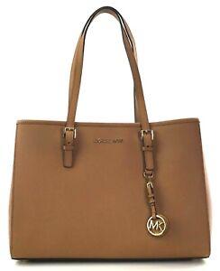 Michael Kors Large Tote Travel Shopper Bag Acorn Brown Saffiano Leather Handbag