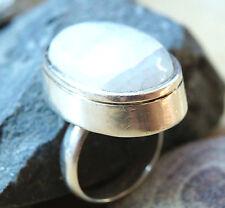 Massiv Breit Silberring 57  Mondstein Handarbeit Silber Ring Kuppel Modern