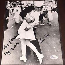 VJ Day Kiss Signed WWII 8x10 photo Edith Shane Carl Muscarello, Coa JSA SCARCE