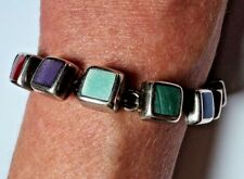 "Vintage HEAVY 40.2g Sterling Silver Multi-stone Square Cab Bracelet 7.75"" Mexico"